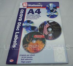 job lot 10 packs of cd dvd labels 15 a4 sheets 30 labels
