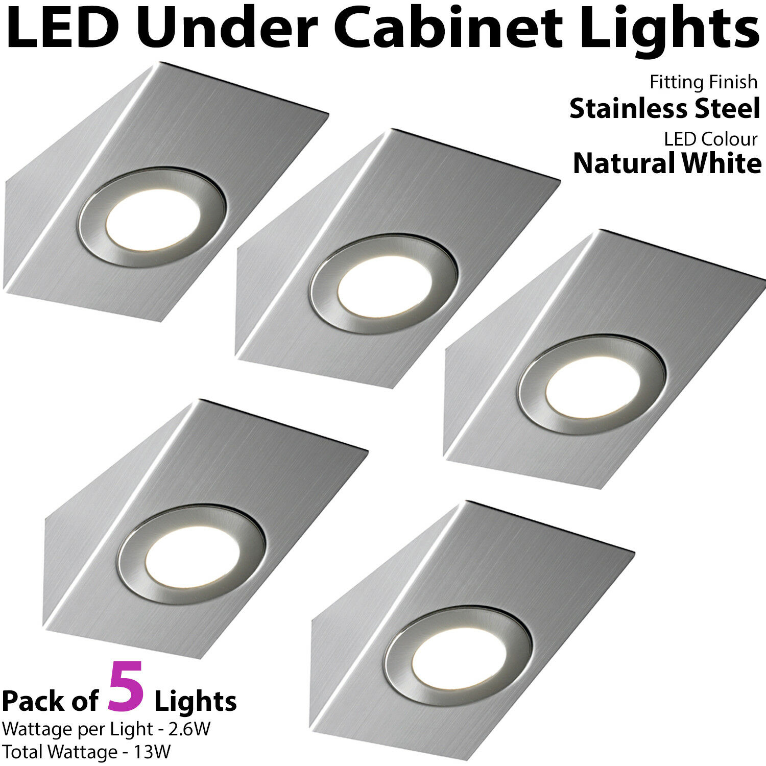 5x 2.6W Led Kit Cuisine Coussin Éclairage Spot & Driver Kit Led Inoxydable Steel-Natural cde600