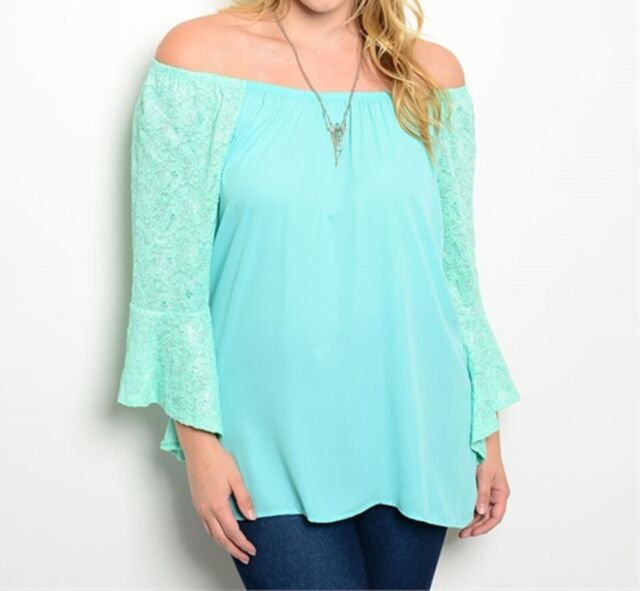 Sexy Plus Size Boho Mint Off the Shoulder Lace Party/Clubbing Top-PT8 CN256265