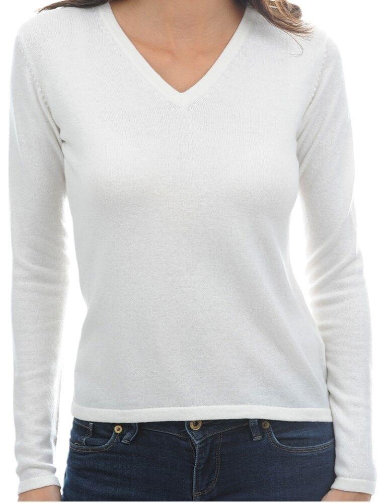 Balldiri 100% Cashmere Damen Pullover 2-fädig V-Ausschnitt weiß M