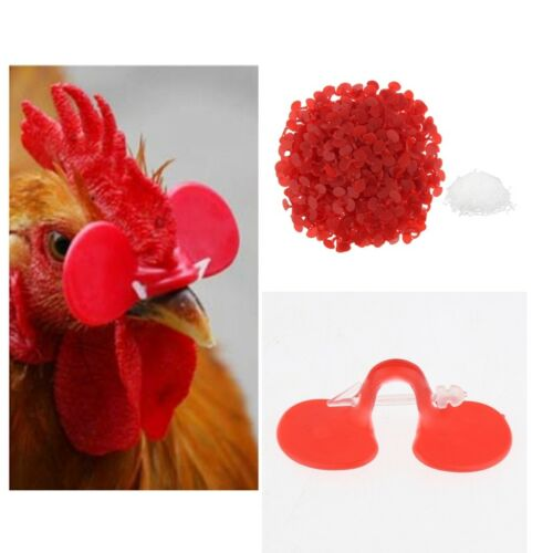 1000 Pairs Red Poultry 1-2.25kg Hen Chicken Eye Glasses Blinders w// Pins