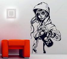 Candy Sugar Skull Graffiti Girl Tattoo Decor Vinyl Wall Sticker Decal Rockabilly