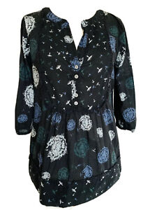 Laura-Ashley-Black-Floral-Blouse-Botanical-Boho-Cotton-Top-3-4-Sleeves-Size-8