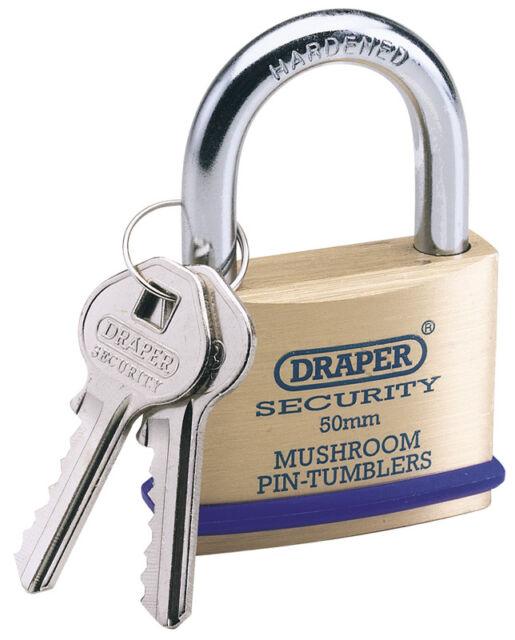 Draper 50mm massives Messing Vorhängeschloss & 2 Schlüssel mit Pilz Stecknadel