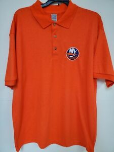 0909 Mens NHL Team Apparel NEW YORK ISLANDERS Polo Golf Jersey Shirt ORANGE New
