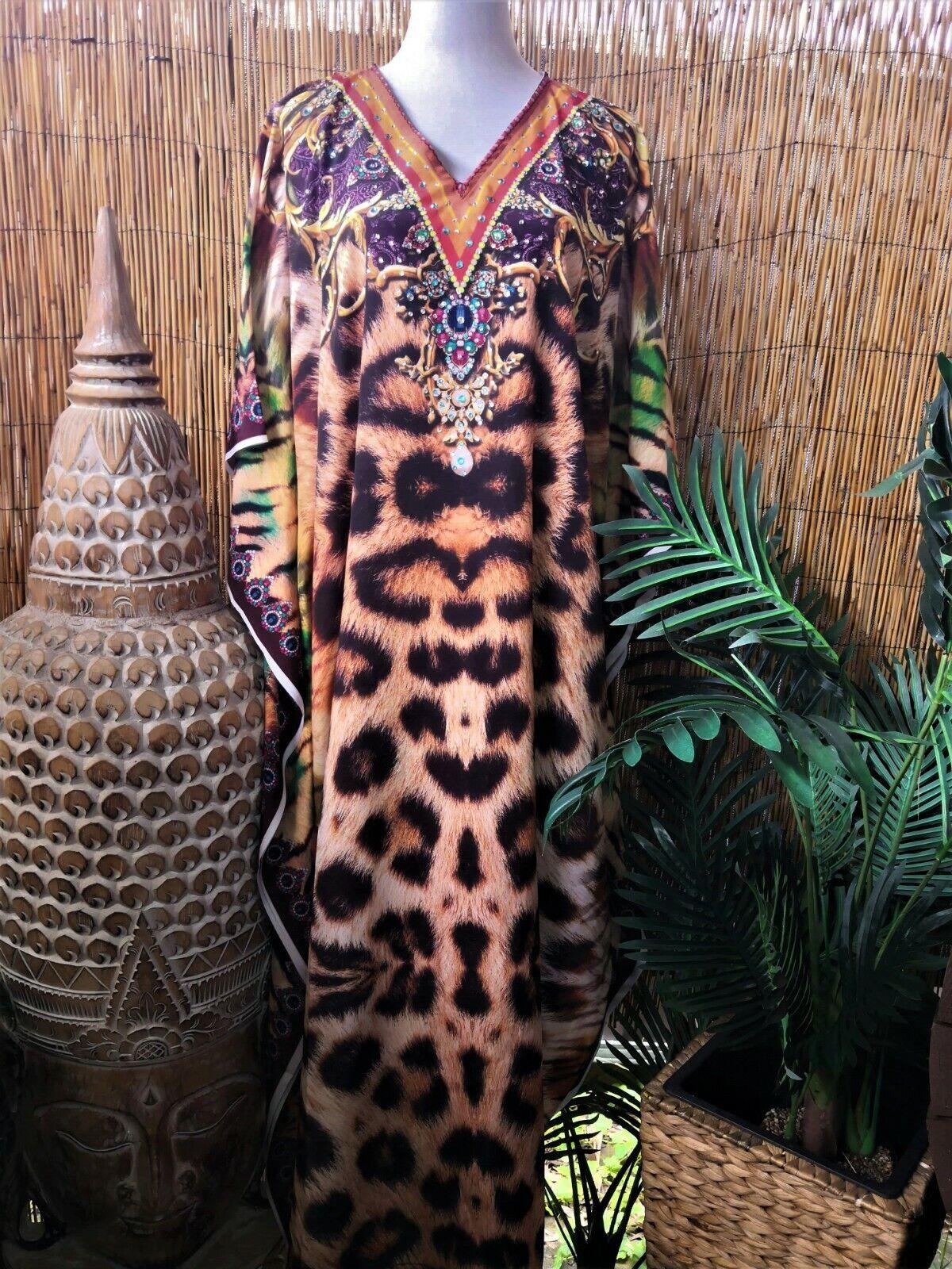 Plus Size Animal Print Embellished Long Maxi Kaftan Dress One Size 16 to 24