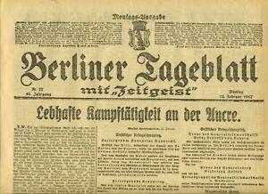 1917-BERLINER-TAGEBLATT-WWI-Lebhafte-Kampf-Taetigkeit-in-der-Ancre-U-Boot-Krieg