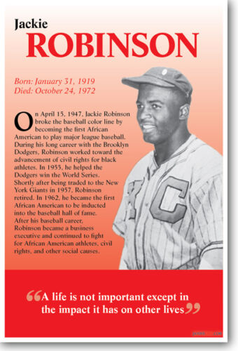 Sports Biography African American Baseball Player NEW POSTER Jackie Robinson