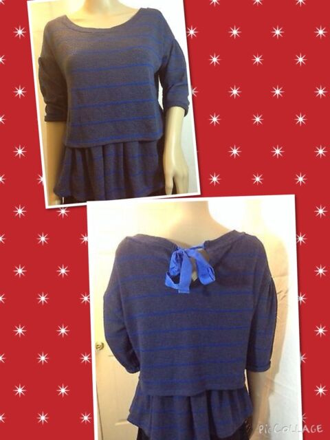 Anthropologie Sz S, L . NAVYSTRIP LAYRED henley knit SWEATER,back lace bow
