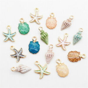 13-Pcs-Set-Mixed-Starfish-Conch-Shell-Metal-Charms-Pendant-DIY-Jewelry-Making