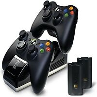 Xbox 360 Wireless Controller Charger Dock Dual Port + 2 Rechargeable Batteries