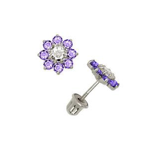 Image Is Loading Flower Cer Amethyst Stud Earrings 14k White Gold