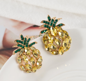 12edf68a20 Details about New Yellow Crystal Ancient Gold Long Ear Stud Hoop tassels  Pineapple earrings