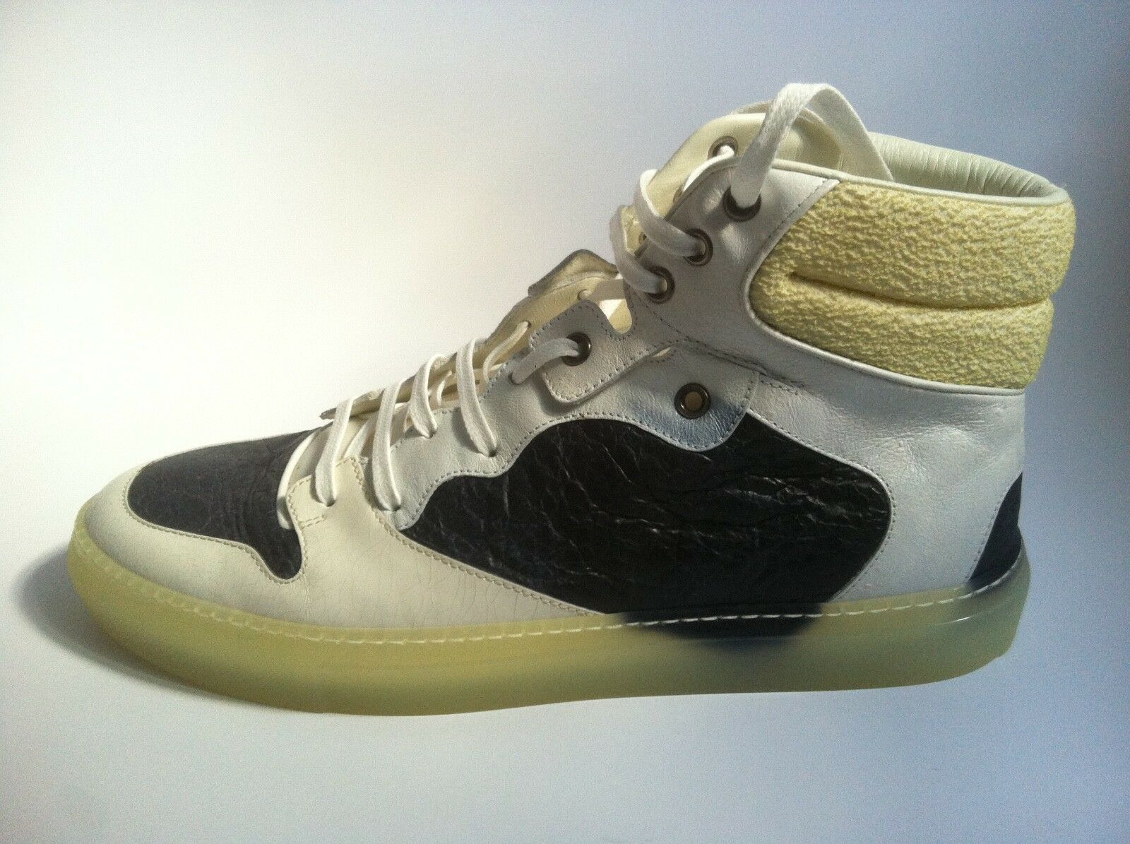 Balenciaga PARIS High Top Patchwork scarpe da ginnastica Trainers Pelle Bianca UE 42 US 9 uk8