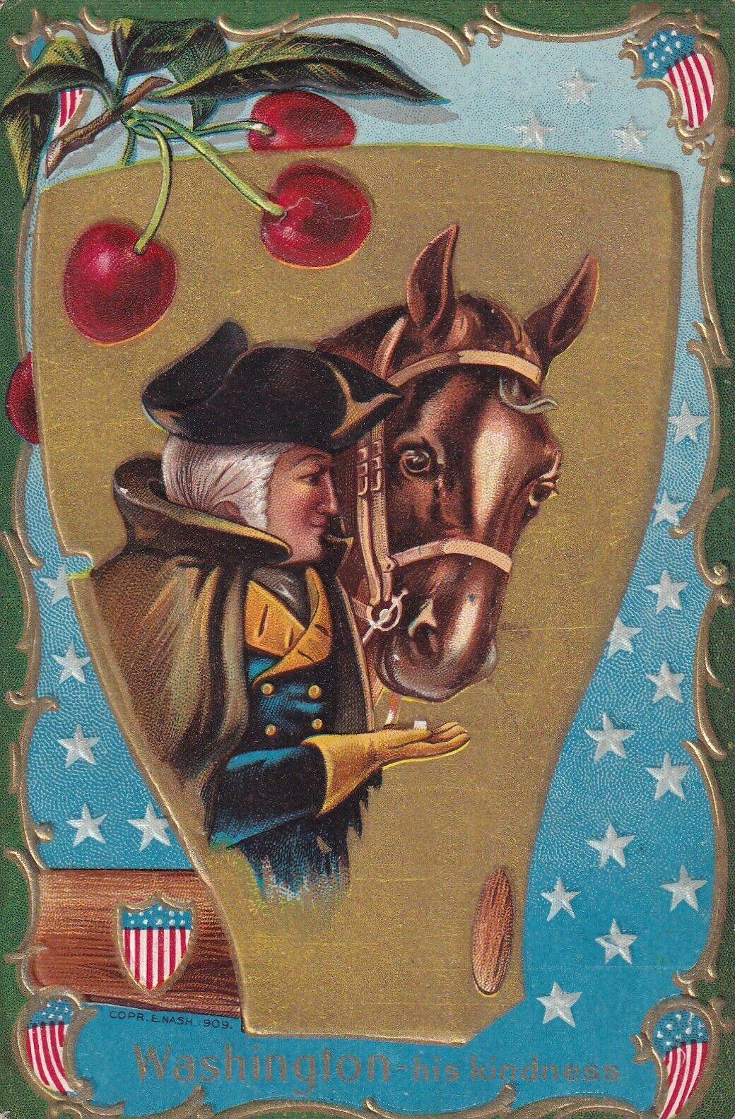 AS: Washington feeling sugar cube to his horse 'his kindness, Cherry, WINSCH