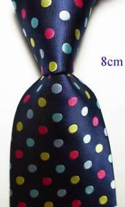 New-Classic-Dot-Dark-Blue-Red-Yellow-JACQUARD-WOVEN-100-Silk-Men-039-s-Tie-Necktie