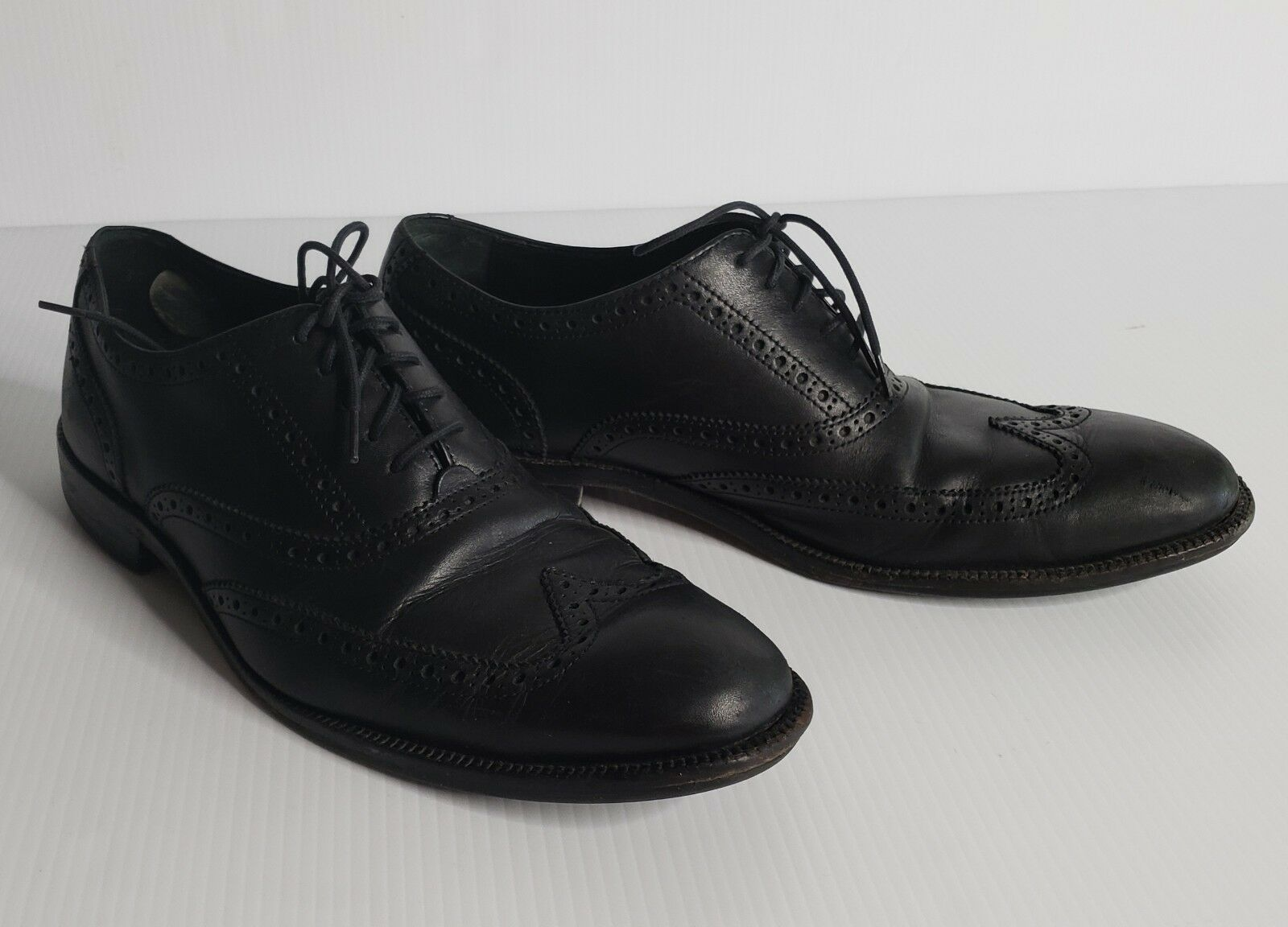 Cole Wing Haan Copley Derby Pebbled Wing Cole Tip Casual Oxfords Men's Size 10.5 M Black 2cfde4