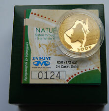 "2009 South Africa Natura ""White Rhino"" 1/2 oz 15.55g Proof Gold Coin Box COA"