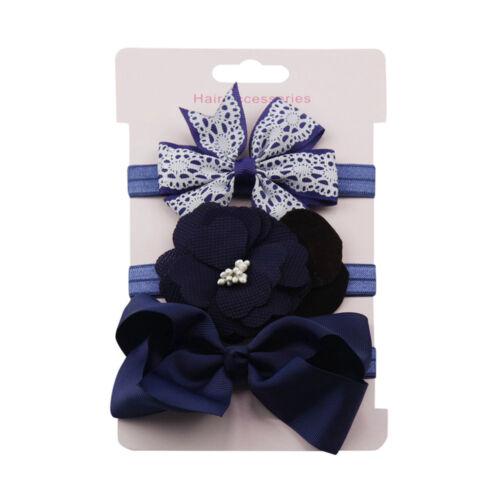 3pcs//Set nouveau-né Bandeau Ruban élastique bébé coiffure Kids Hair Band Fille Bow