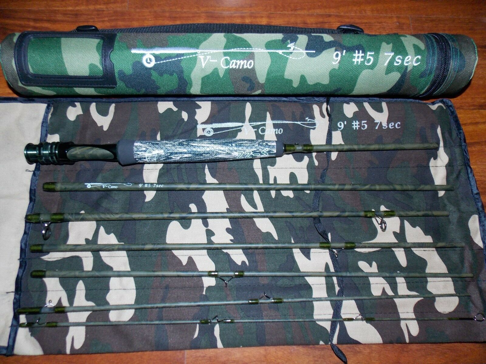 5WT Camo Fly Fishing Rod Traveller 9FT 7PC.  & Rod tube FREE 3 DAY DELIVERY