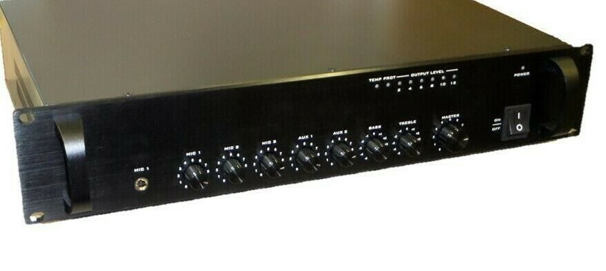Commercial Audio 120W 5ch 100 70V Mixer Amp with Microphone Priority byMonoprice