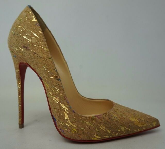 finest selection 931ef d4f59 Christian Louboutin So Kate 120 Liege Lame Nude Cork Pumps Heels Size 36