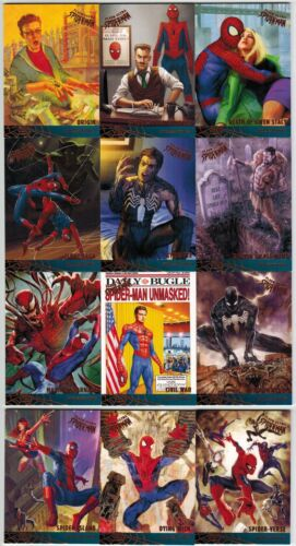 2017 FLEER ULTRA SPIDER MAN MARVEL MILESTONES COMPLETE 12 CARD INSERT CHASE SET