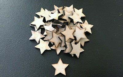 50 X Wooden 20mm Star Shaped Embellishments Craft Scrap Book Making Cards E50