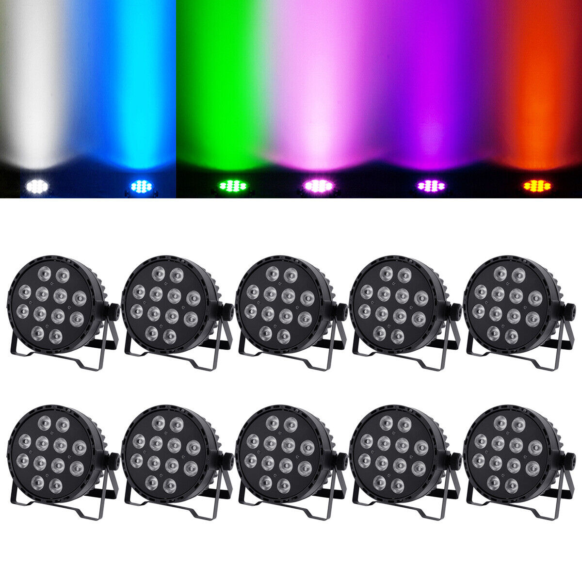 10PCS RGBWA Stage Par Light DMX512 5IN1 12LED*10W Color Mixing Disco Washer Lamp