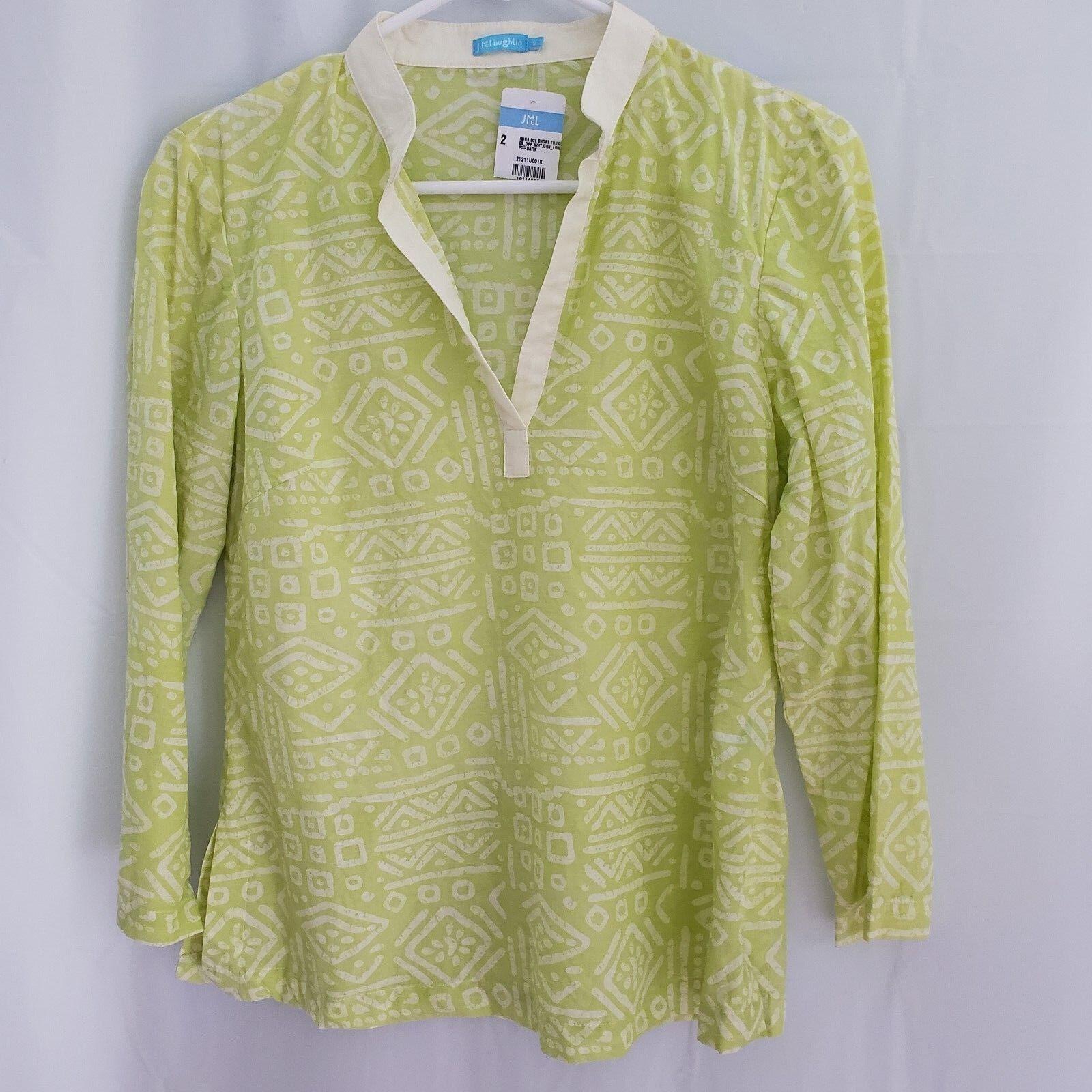 J MCLAUGHLIN Größe 2 Lime Grün Weiß Tunic Blouse Silk Cotton Blend New w Tags