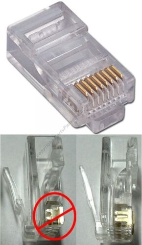 Lot500SOLID wire RJ45Crimp-On cable End8P8C modular connector for Cat5e Ethernet