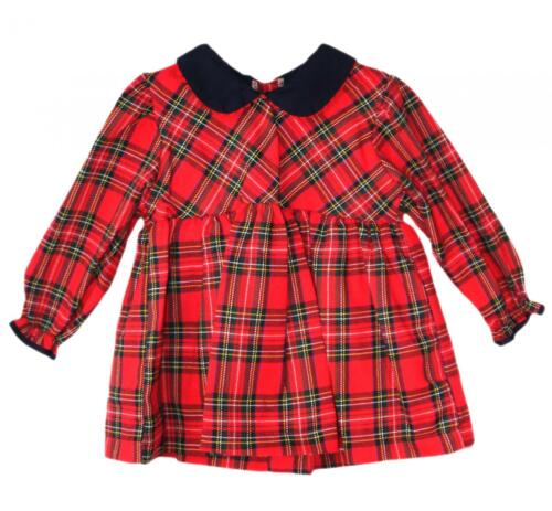 Romany Style Tartan Red Rose Bow Dress Baby Girls Gorgeous Smocked 0-24 Months