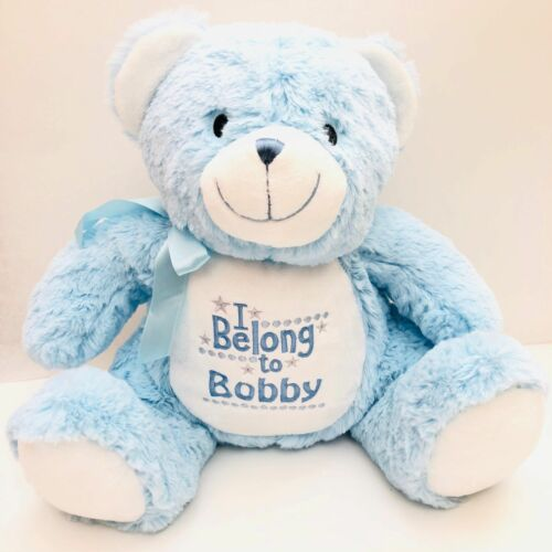 Blue Bear Personalised Embroidered Mumbles Teddy soft Toy Birth Christening