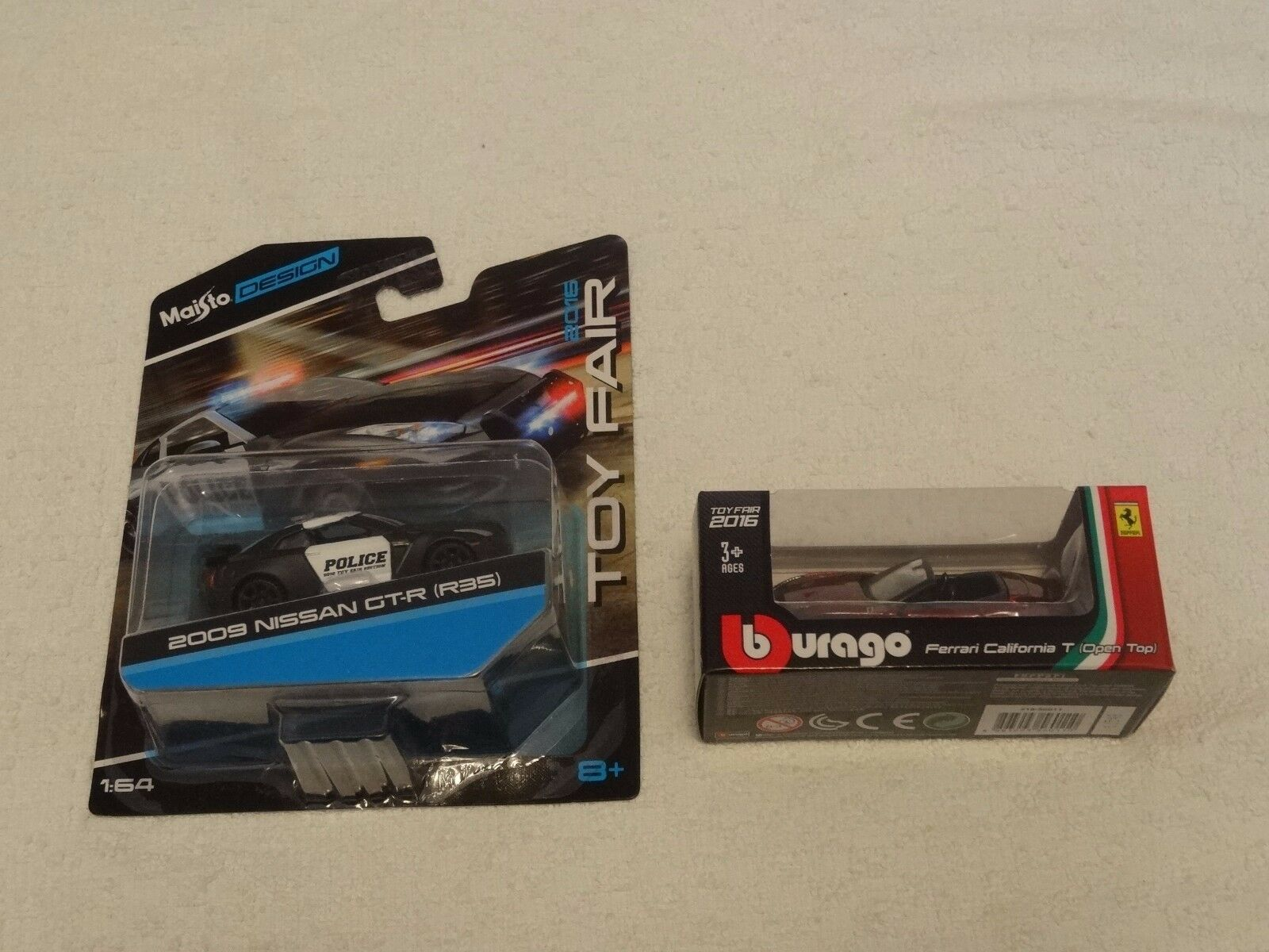 Toy Fair 2016 Maisto 2009 Nissan GT-R R35 & Burago Ferrari California T Open Top