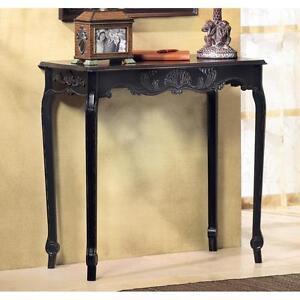 Modern Black Shabby Distressed Ornate Wood Long Console