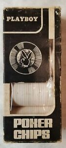 Playboy-1970s-Hoyle-Poker-Chips-Box-of-100-White-Vintage