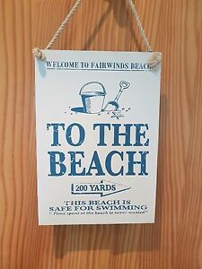 Image Is Loading Wooden Hanging Sign To The Beach Rustic Sea