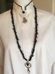 LANYARD-NECKLACE-Simulated-ONYX-ID-Badge-Holder-matching-earrings
