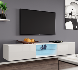 tv schrank lucas glass led tv kommode lowboard h ngeschrank farbauswahl h ngend ebay. Black Bedroom Furniture Sets. Home Design Ideas
