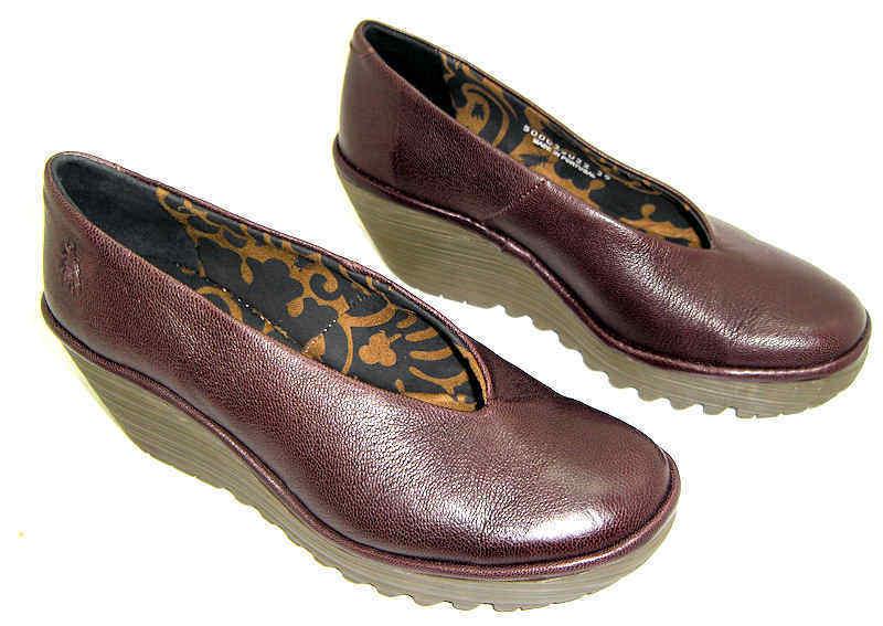 Fly London Yaz Cuña con Plataforma De Cuero Marrón Zapatos Zapatos Zapatos De Salón Cuñas UK 7 EU40  ¡no ser extrañado!