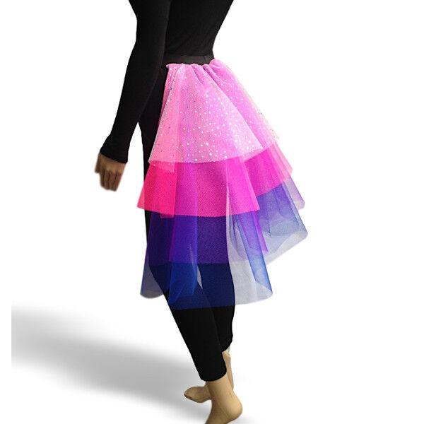 Childrens SPARKLE BUSTLE layered TUTU MULTI COLOUR FANCY DRESS dance COSTUME