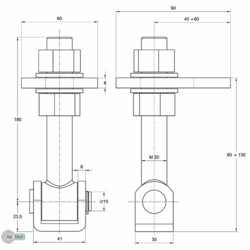120 Torangel einstellbar Torband Torscharnier 180 M20 Anschweißplatte L