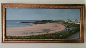 Original-Framed-amp-Signed-Oil-Painting-Newton-Beach-South-Wales-Fishing-Coastal