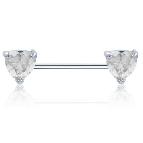 Love Heart Gem Crystal14g Surgical Steel Nipple Ring Bar Barbell Body Piercing