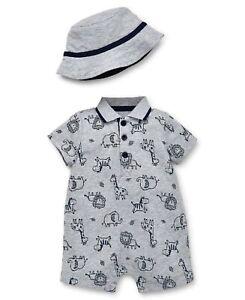 a5de0d5f60e0a LITTLE ME Baby Boy 2pc SAFARI ANIMALS Polo ROMPER   BUCKET HAT 6 9M ...