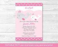 Mod Pink & Grey Mamma & Baby Whale Printable Baby Shower Invitation Editable Pdf