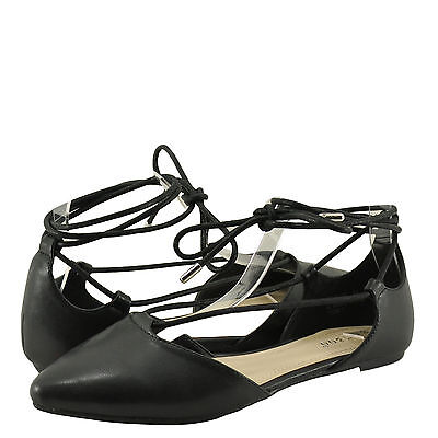 Women/'s Shoes Bamboo Sequel-04S Ankle Wrap Lace Up D/'Orsay Flat Black KPU *New*