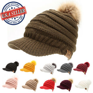 Details About Women S Soft Warm Ribbed Knit Visor Brim Pom Pom Beanie Hat With Plush Lining