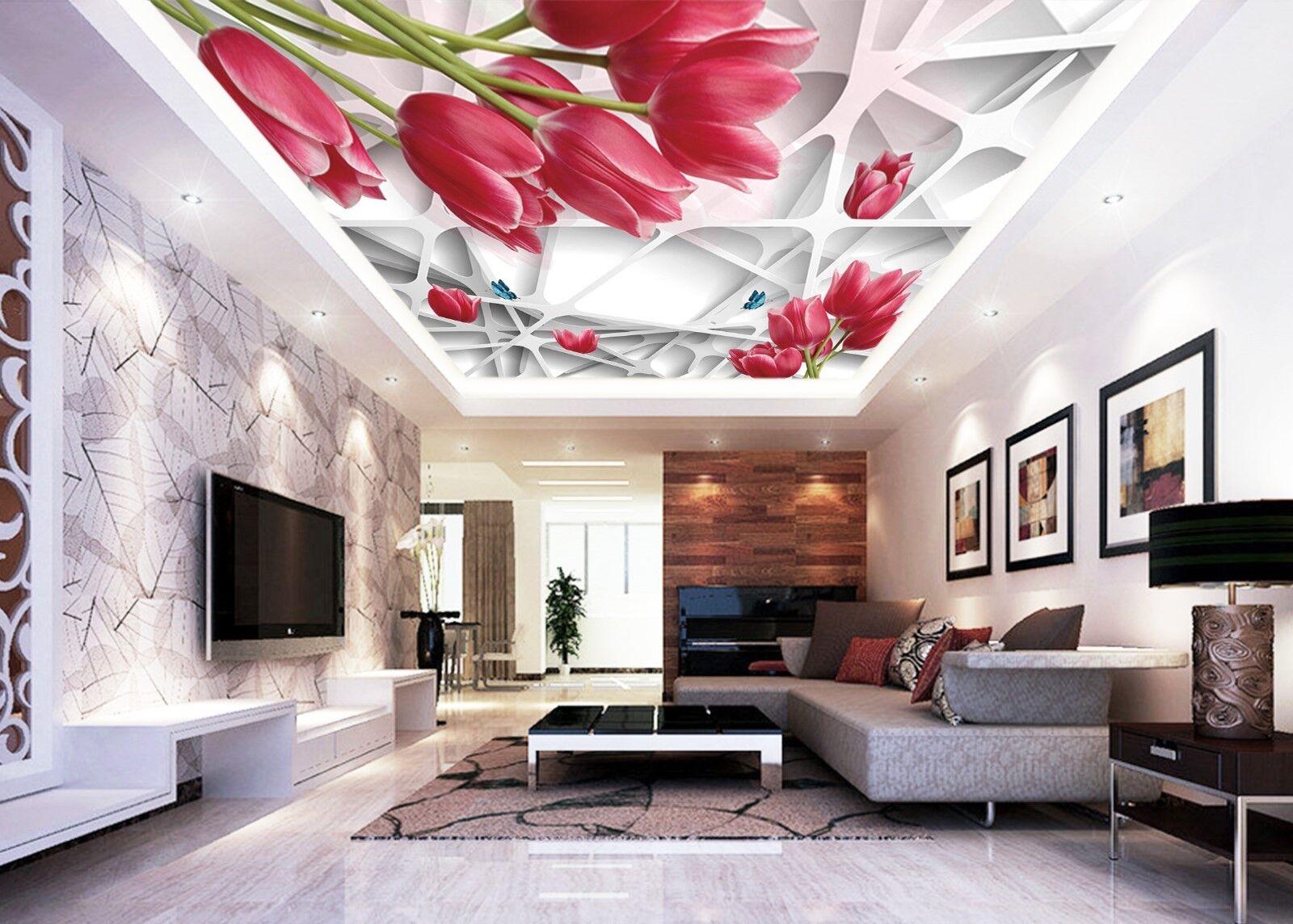3D ROT Tulip Rahmen 8 Fototapeten Wandbild Fototapete BildTapete Familie DE Kyra