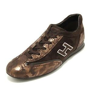 4416G sneaker donna marrone HOGAN olympia h flock scarpa shoes women